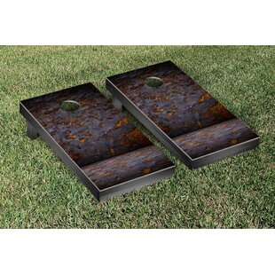 Victory Tailgate Grungy Metal Themed Cornhole Game Set