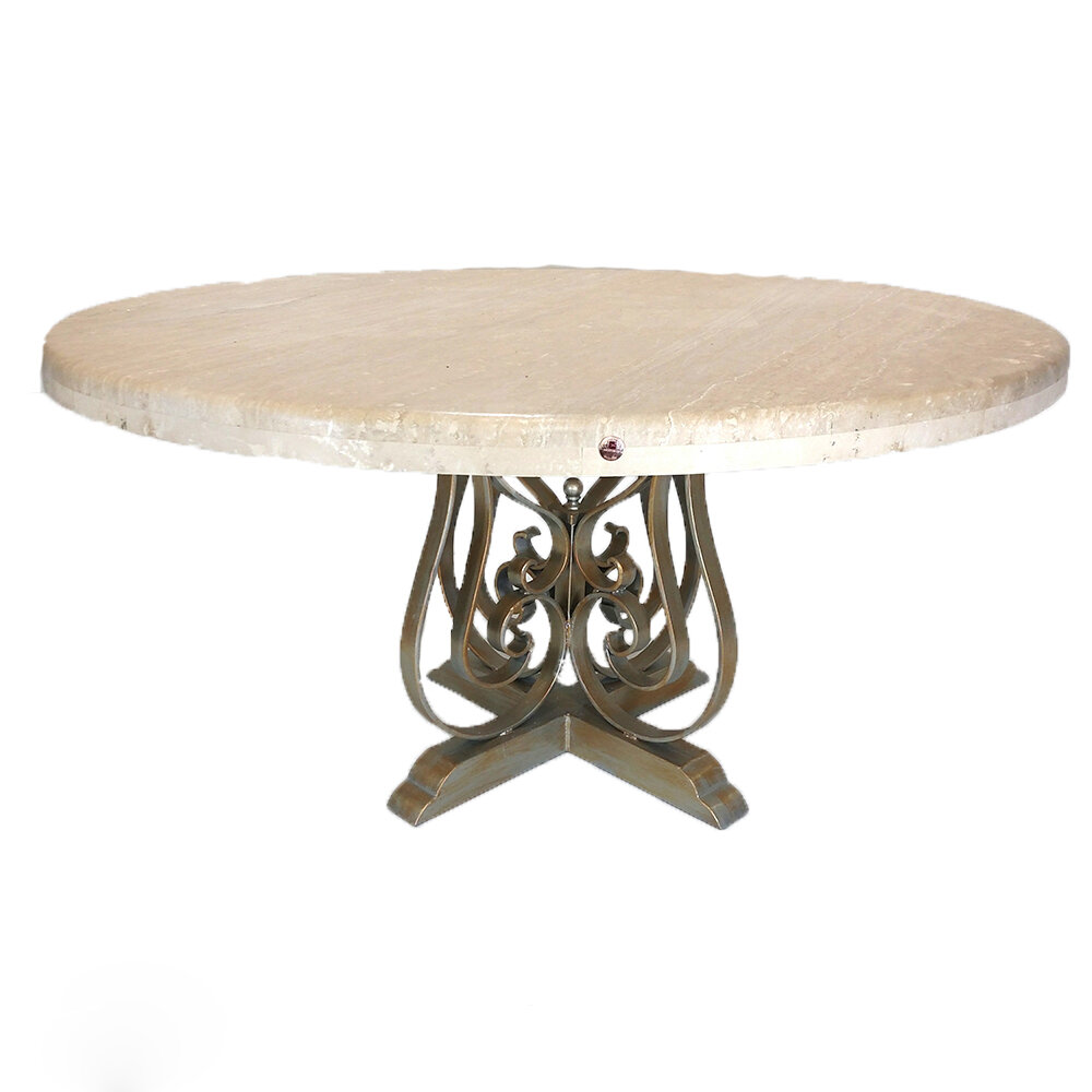 Mexports By Susana Molina Rustic Elegant Round Dining Table With Sturdy Wrought Iron Legs And Complemented With A Cream Bullnose Travertine Top Wayfair