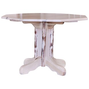 Abordale Table Center Pedestal Solid Wood Dining Table Loon Peak