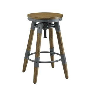 Ehlers Wooden Adjustable Height Swivel Bar Stool (Set of 2) 17 Stories