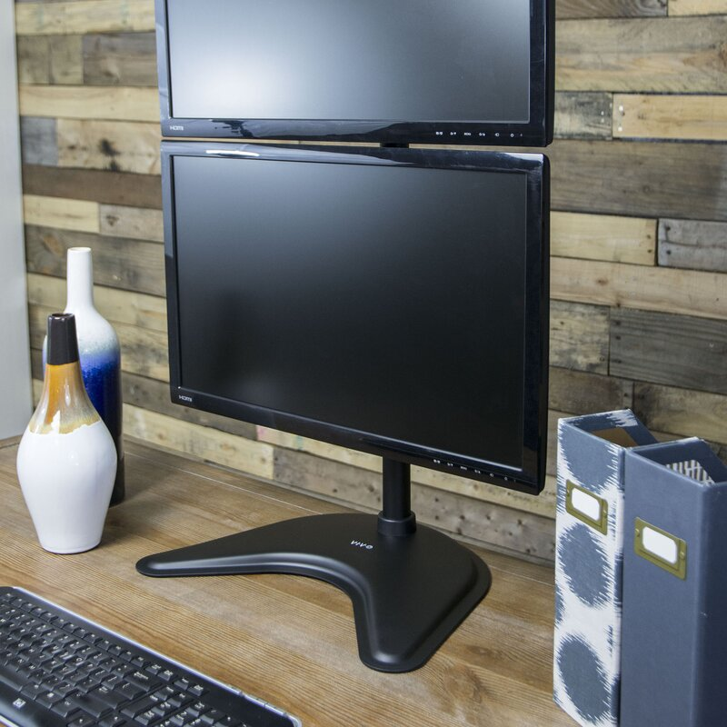 VIVO Dual LCD Monitor Vertical Desk Stand Free-Standing Mount for 2 Screens up to 27 STAND-V002N