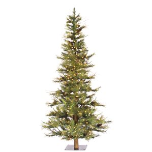artificial christmas tree with 300 dura lit clear lights with stand - Skinny Christmas Trees