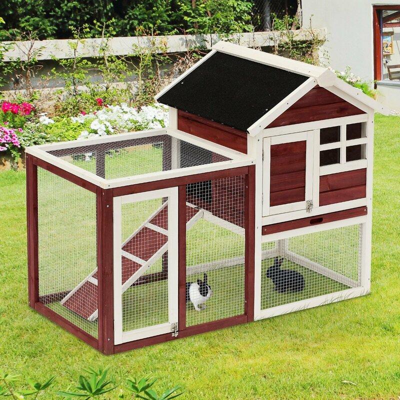 Tucker Murphy™ Pet Genebern Wooden Rabbit Hutch with Ladder and Outdoor Run & Reviews | Wayfair