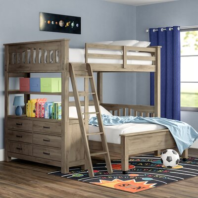 Viv + Rae Gisselle L-Shaped Bunk Beds with Drawers and Shelves Size: Twin over Full, Bed Frame Colour: Driftwood