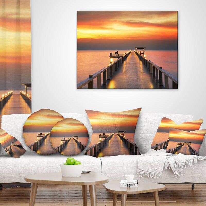 East Urban Home Pier Seascape Sky And Long Wooden Bridge Lumbar Pillow Wayfair