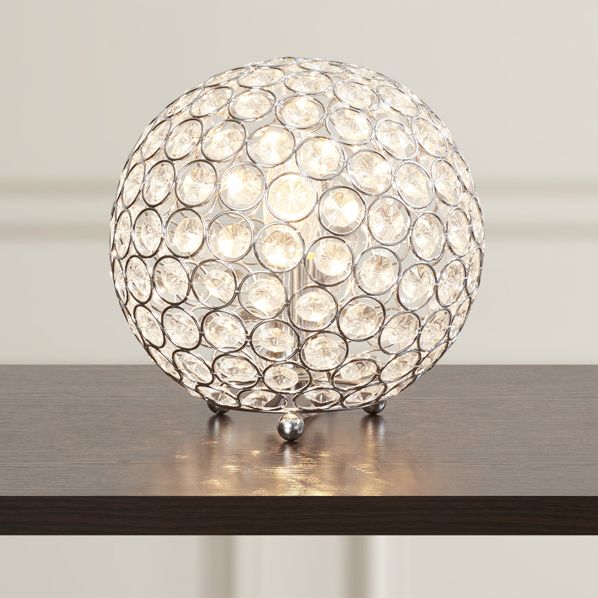 Modern Glam 52cm Mirrored Table Lamp Bedside Light with White Shade