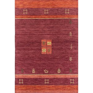 One-of-a-Kind Salvatore Hand-Knotted Dark Red Area Rug