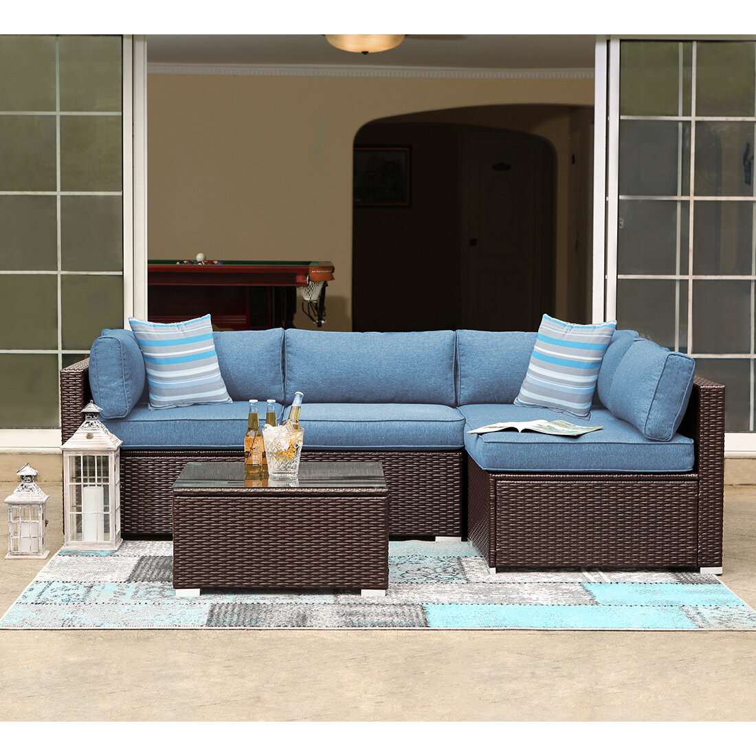 Bayou Breeze Maeve 5 Piece Rattan Sectional Seating Group With Cushions Reviews Wayfair