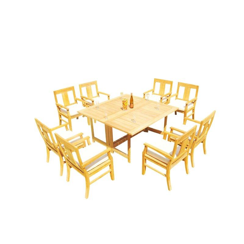 Rosecliff Heights Kevon 9 Piece Teak Dining Set Wayfair