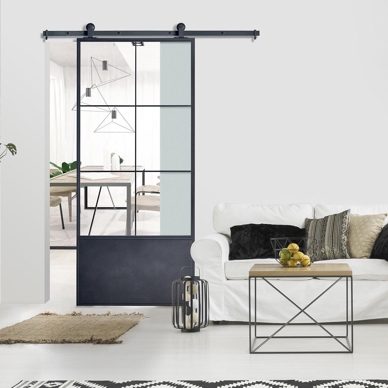 Colonial Elegance Paneled Metal Glass Barn Door With Installation Hardware Kit Reviews Wayfair