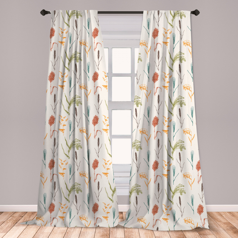 East Urban Home Botanical Floral Room Darkening Rod Pocket Curtain Panels Reviews Wayfair