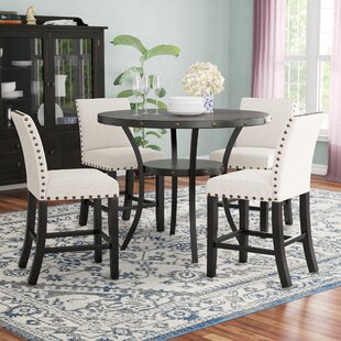 Maudie 5 Piece Counter Height Solid Wood Dining Set DarHome Co