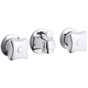 Kohler Triton Shelf-Back Commercial Bathroom Sink Faucet with Pop-Up Drain and Standard Handles