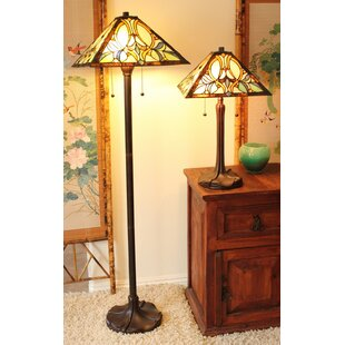 Astoria Grand Preston Floral 2 Piece Table and Floor Lamp Set
