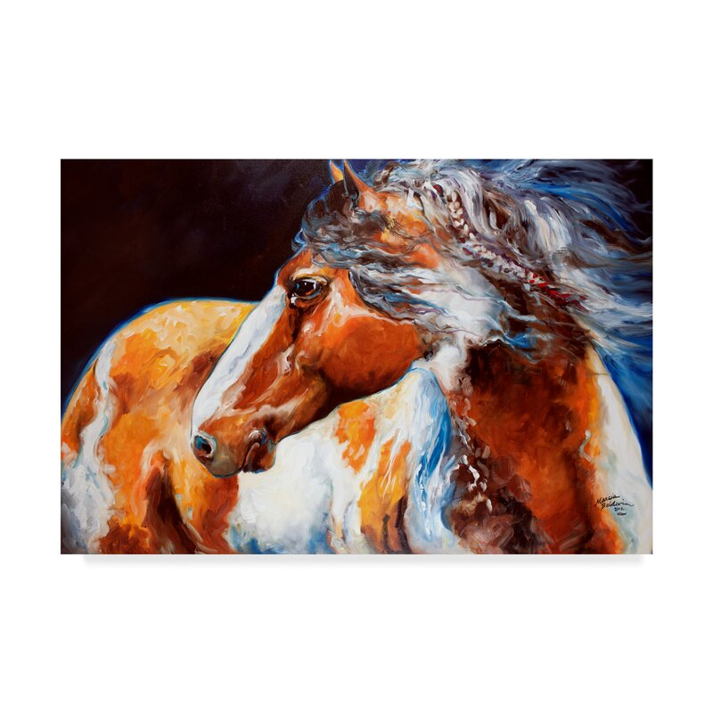 Trademark Art Mohican Indian War Horse Acrylic Painting Print On Wrapped Canvas Reviews Wayfair