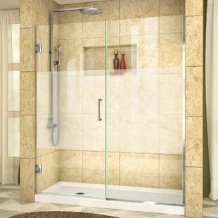 Unidoor Plus 56 x 72 Hinged Frameless Shower Door with Clearmax? Technology by DreamLine