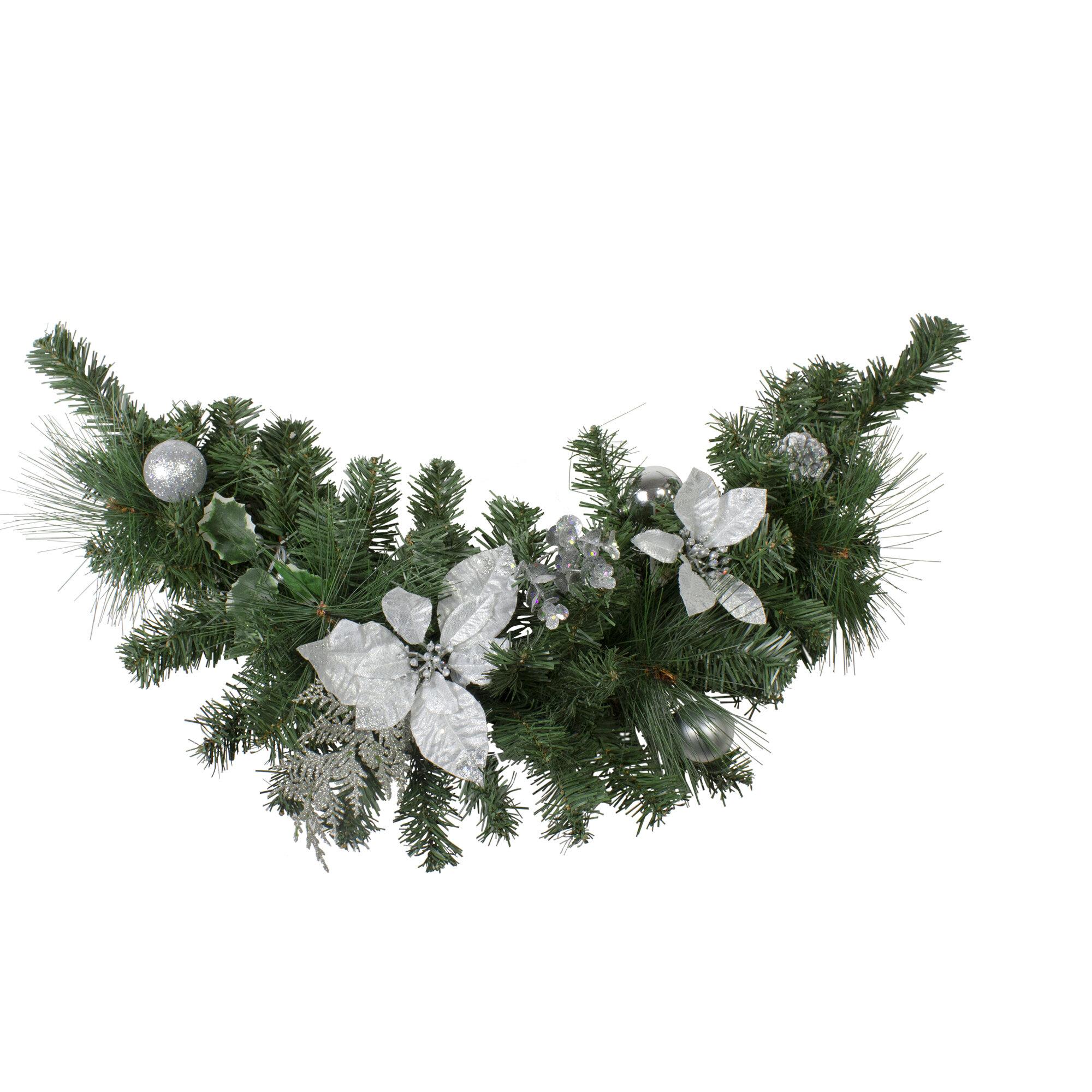 Gold Glitter Leaf Artificial Christmas Garland Swag Decoration Ornament