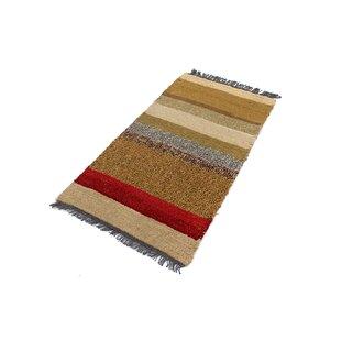 Review Gamelin Hand Hooked Wool Yellow/Brown Indoor/Outdoor Rug