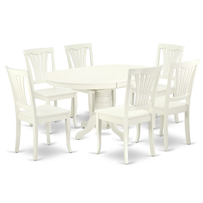 Alcott Hill Emmaline 7 Piece Butterfly Leaf Rubberwood Solid Wood Dining Set Wayfair