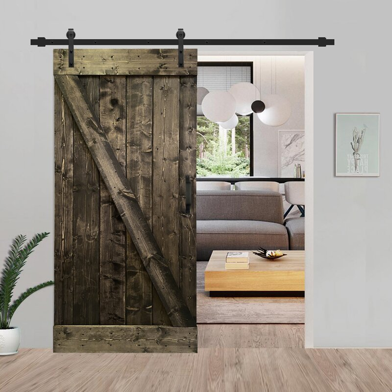 Calhome Paneled Wood And Metal Painted Barn Door With Installation Hardware Kit Wayfair