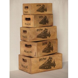 Roucourt Solid Wood 5 Piece Organiser Box Set By Brambly Cottage