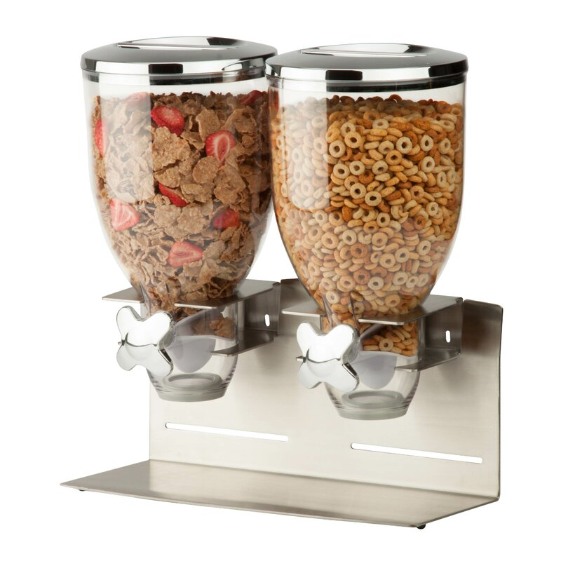 Double Designer Edition Dry Food 2 Container Cereal Dispenser