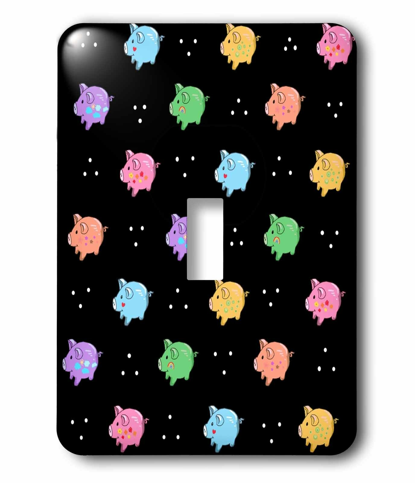 3drose Rainbow Pig Cartoon Cute Pigs Cartoony Anime Style On Black 1 Gang Toggle Light Switch Wall Plate Wayfair