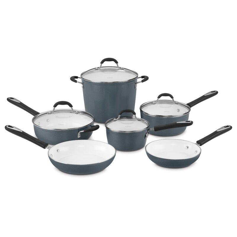 Cuisinart 10 Piece Aluminum Non Stick Cookware Set Reviews Wayfair