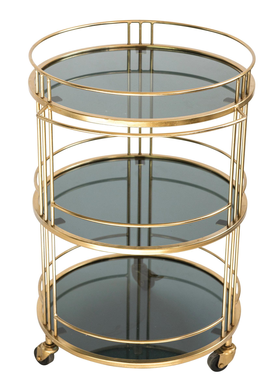 Everly Quinn Ferrer Glass Bar Cart With Metal Frame And Caster Wheels Wayfair