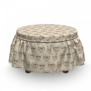 Cats Neck Ties Glasses Ottoman Slipcover (Set of 2) by East Urban Home
