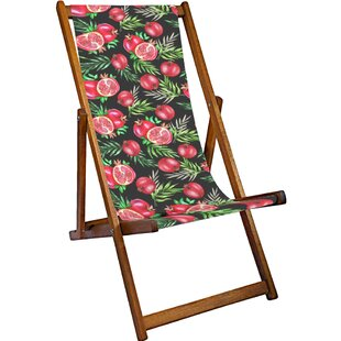 Pomegranates Reclining Deck Chair by Lemon Head Prints