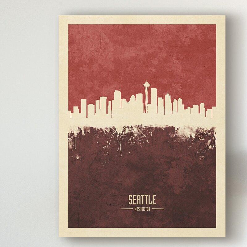 Wrought Studio Seattle Washington Skyline Red Ii Graphic Art On Wrapped Canvas Wayfair