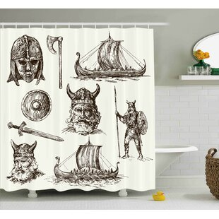 Viking Ancient War Characters Single Shower Curtain