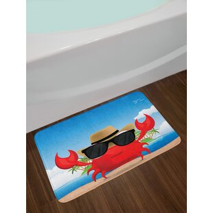 Ambesonne Crabs Bath Mat by, Cool Crustacean with Black Sunglasses and a Hat Summer Vacation on Tropical Island, Plush Bathroom Decor Mat with Non Slip Backing, 29.5 W X 17.5 W Inches, Multicolor