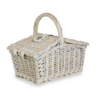 Double Lidded Small Picnic Basket By Brambly Cottage
