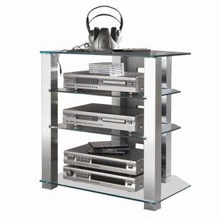 Reviews Glass and Aluminum Audio Rack By Ebern Designs