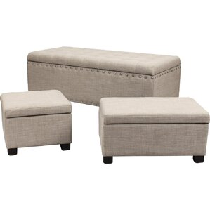 Home 3 Piece Ottoman Set by Adeco Trading