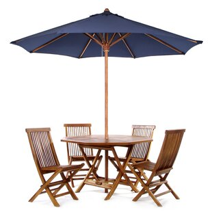 Longshore Tides Humphrey 6 Piece Teak Dining Set With Umbrella