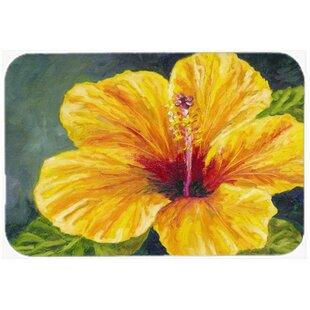 Yellow Hibiscus Glass Cutting Board