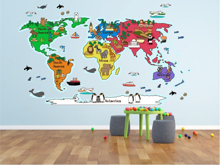Zoomie kids hinz world map wall decal wayfair hinz world map wall decal gumiabroncs Images