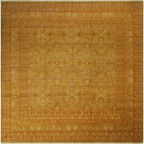 Isabelline One Of A Kind Aaru Hand Knotted 1960s Light Green Gold 10 2 Square Wool Area Rug Wayfair