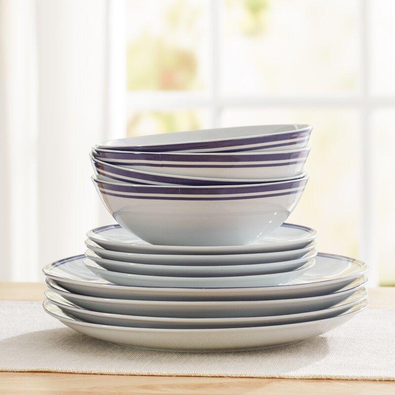 Wayfair Basics 12 Piece Striped Porcelain Dinnerware Set Service for 4 & Wayfair Basics™ Wayfair Basics 12 Piece Striped Porcelain Dinnerware ...