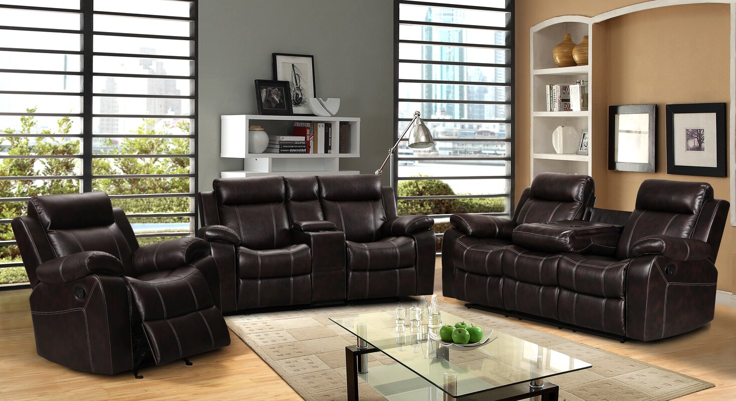living in style gabrielle 3 piece living room reclining sofa set