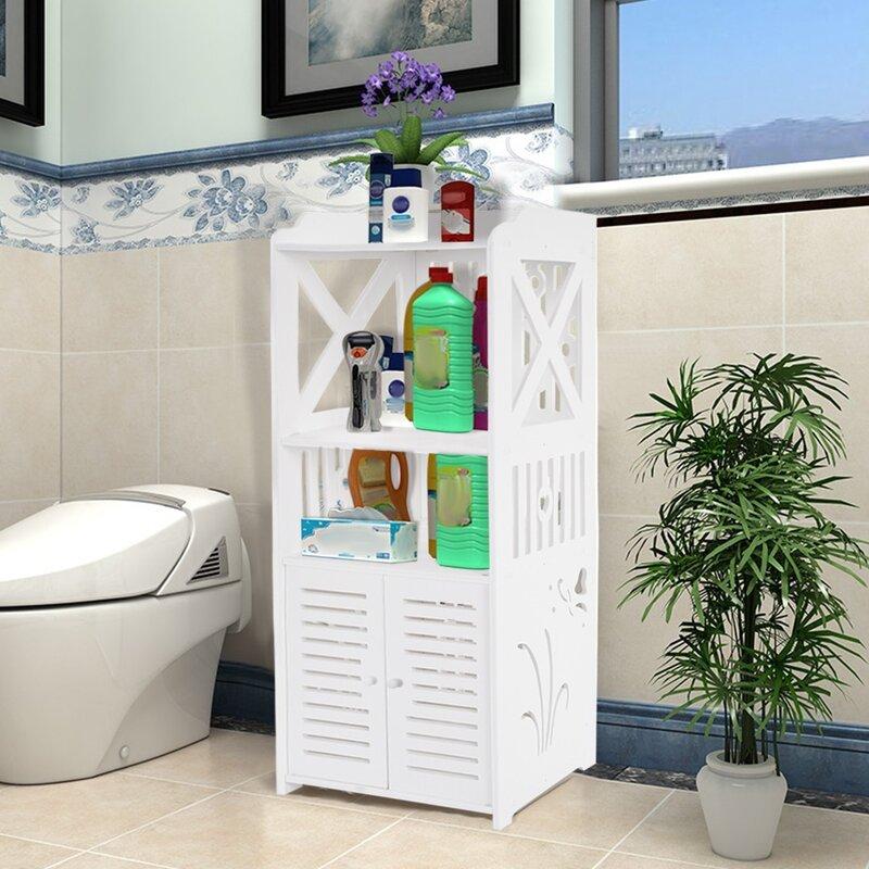 Winston Porter Bathroom Storage Corner Floor Cabinet Toilet Vanity Cabinet Bath Sink Organizer Wayfair