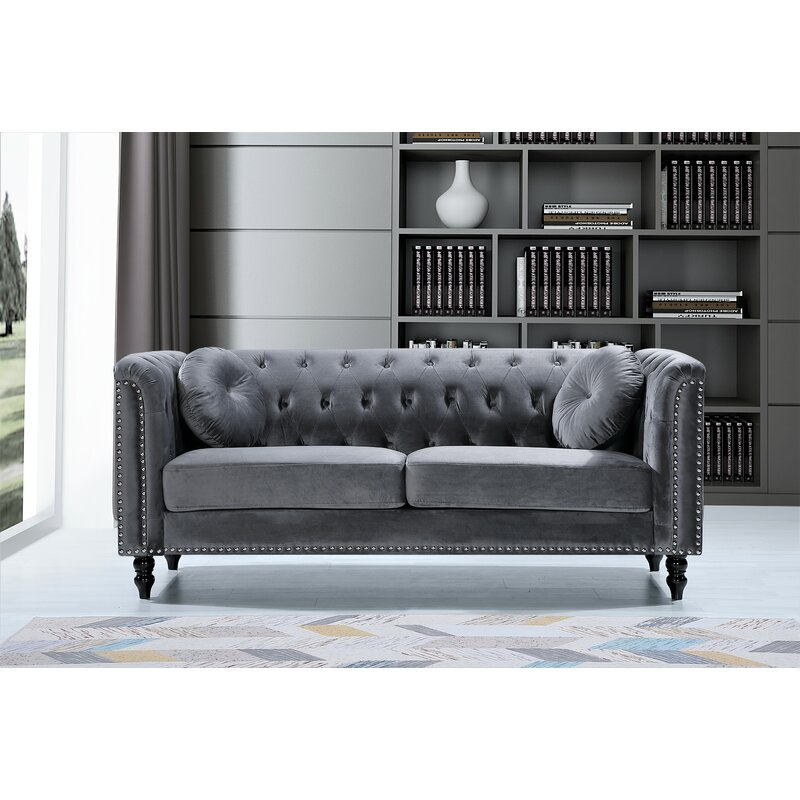 Everly Quinn Cooksey Velvet Chesterfield 75 98 Roll Arms Sofa Reviews Wayfair