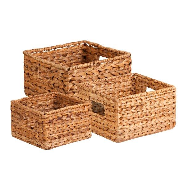 Red Hamper Set of 3 Burlington Wicker Shopping Basket Brown 36 x 42 x 17 cm