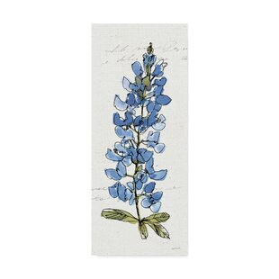 3287b97068a6d 'Texas Bluebonnet III' Watercolor Painting Print on Wrapped Canvas