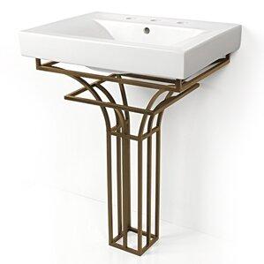Iron Virtus 24  Single Pedestal Bathroom Vanity SetD Vontz   Wayfair. D Vontz Natural Marble Vessel Single Sink Bathroom Vanity Top. Home Design Ideas