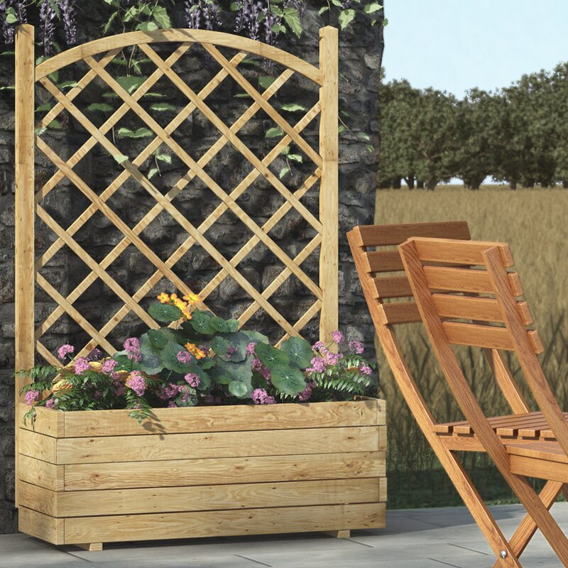Rowlinson Wooden Planter Box With Trellis Amp Reviews