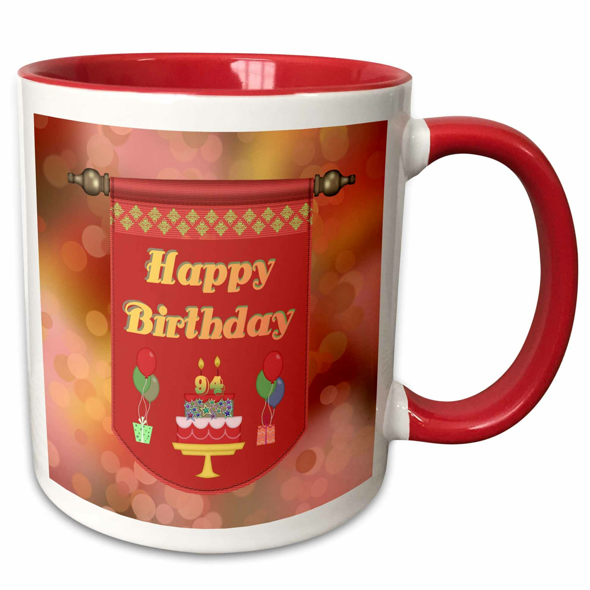 The Party Aisle Happy 94th Birthday Banner Cake With Gifts And Balloons Coffee Mug